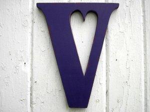 V blue wooden